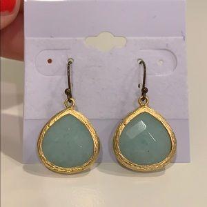 Gold plated earrings light aqua